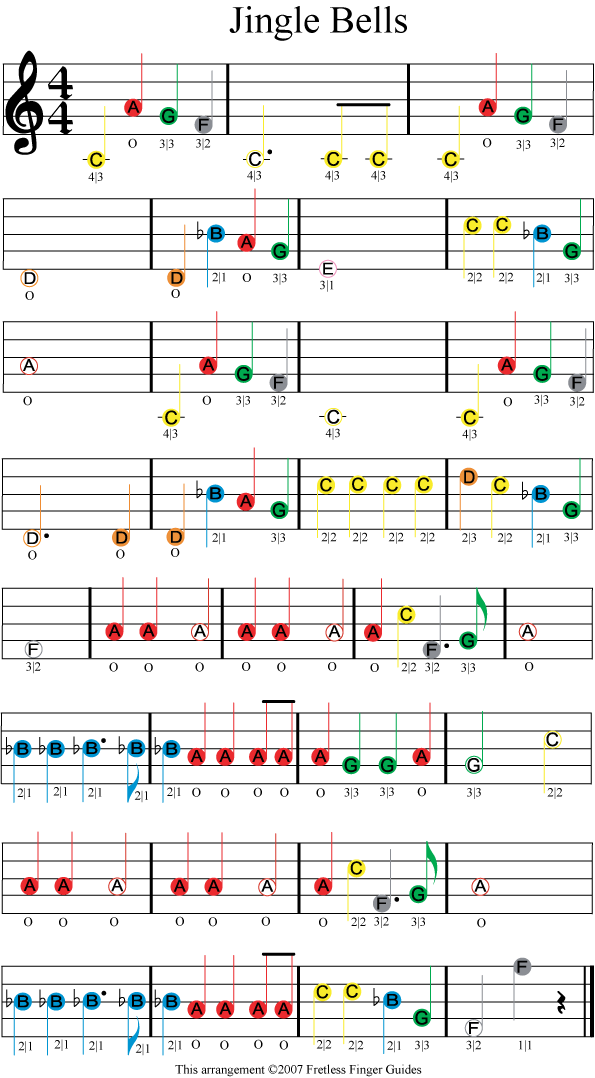 jingle bells easy color coded violin sheet music