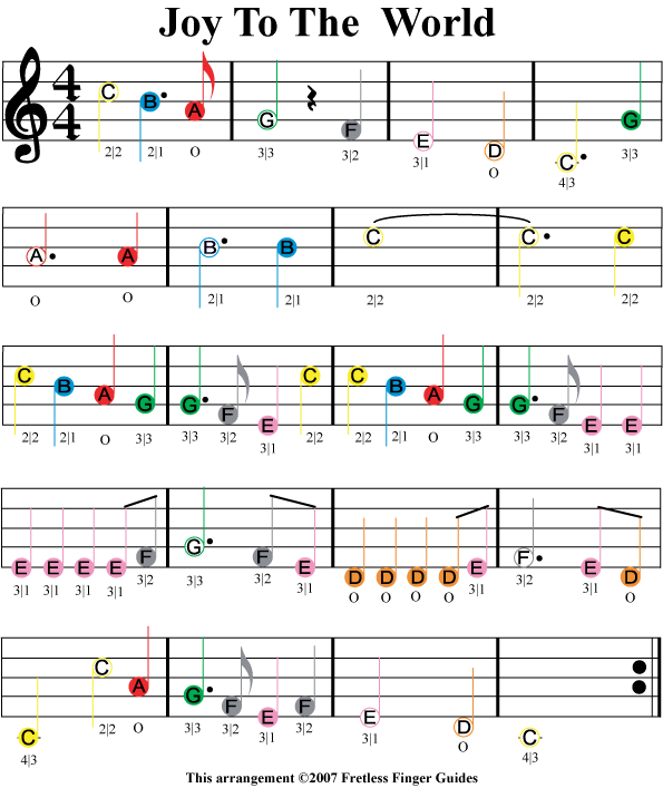 Joy to the World easy color coded violin sheet music
