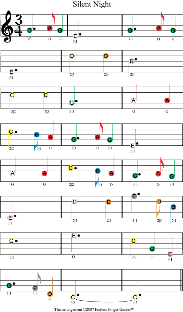 Silent Night easy color coded violin sheet music