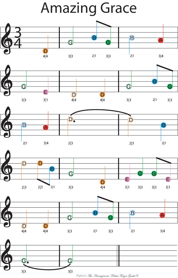 color coded free violin sheet music for amazing grace