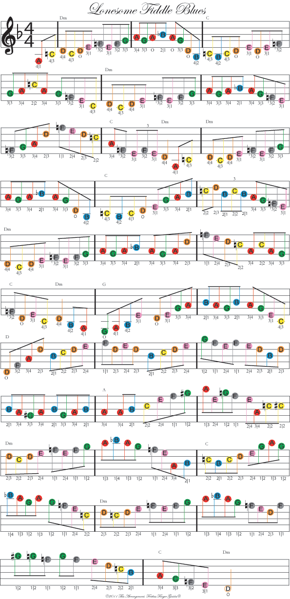 Color coded free violin sheet music for lonesome fiddle blues