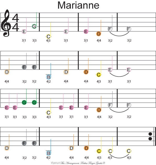 color coded free violin sheet music for marianne