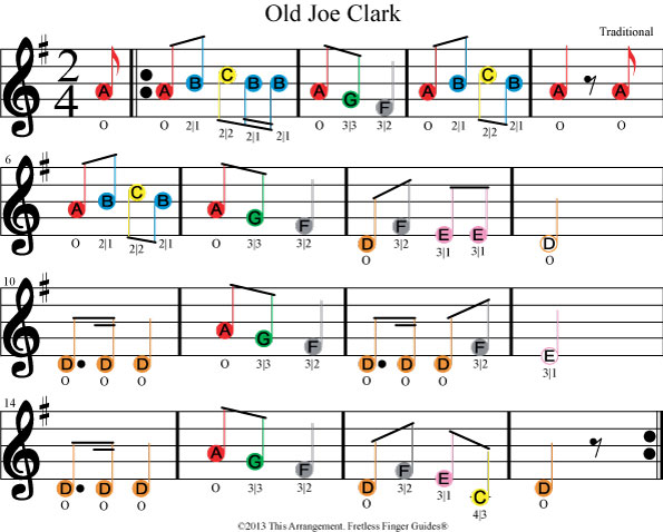 color coded beginner violin or fiddle sheet music for old joe clark