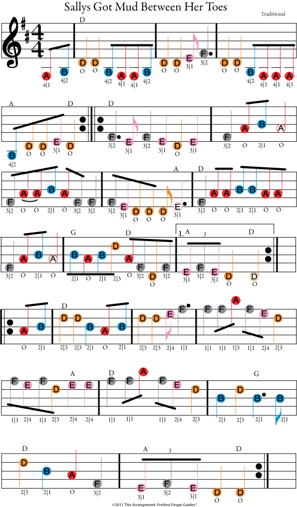 color coded free violin sheet music for sallys got mud between her toes