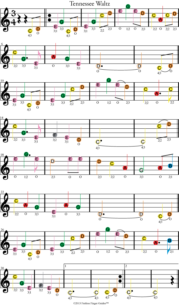 color coded violin sheet music for tennessee waltz