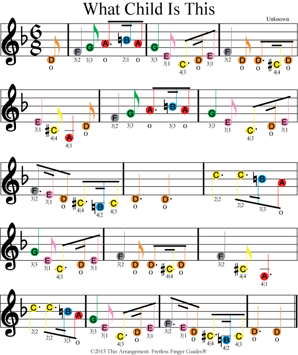 what child is this easy color coded violin sheet music