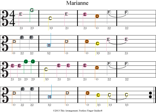 image showing color coded viola sheet music for Marianne