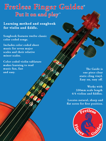 image of the front cover of the fretless finger guides learning method and songbook