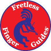 image of fretless finger guides logo featuring a violin playing koko pelli