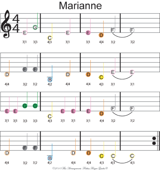 "Color coded violin sheet music of ""Marianne"""