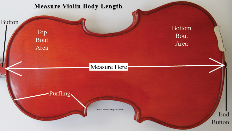 image show how to measure the body of a violin or viola or cello or upright bass