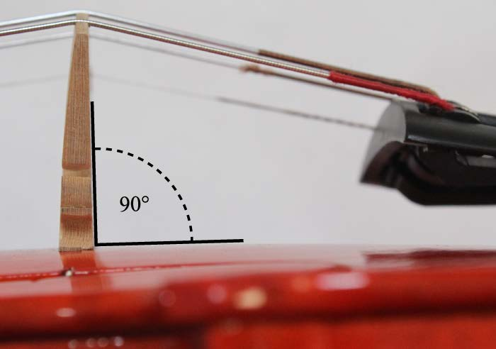 image showing a properly positioned perpendicular bridge on a violin, fiddle, viola, cello or upright bass